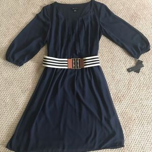 A.B. Studio NWT navy belted dress